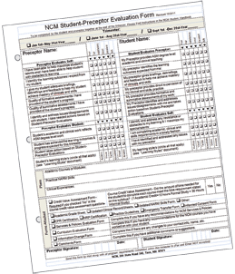 NCM Student-Preceptor Evaluation form